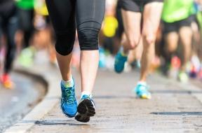 Woman legs and feet closup Marathon